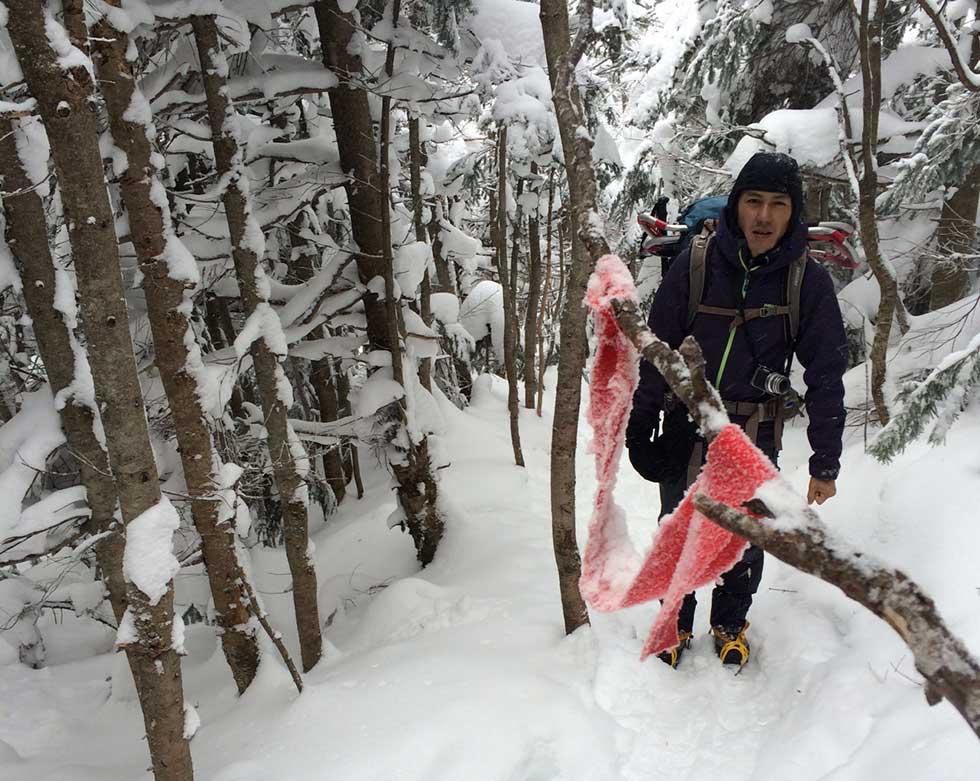 厳冬期の黒斑山に登る
