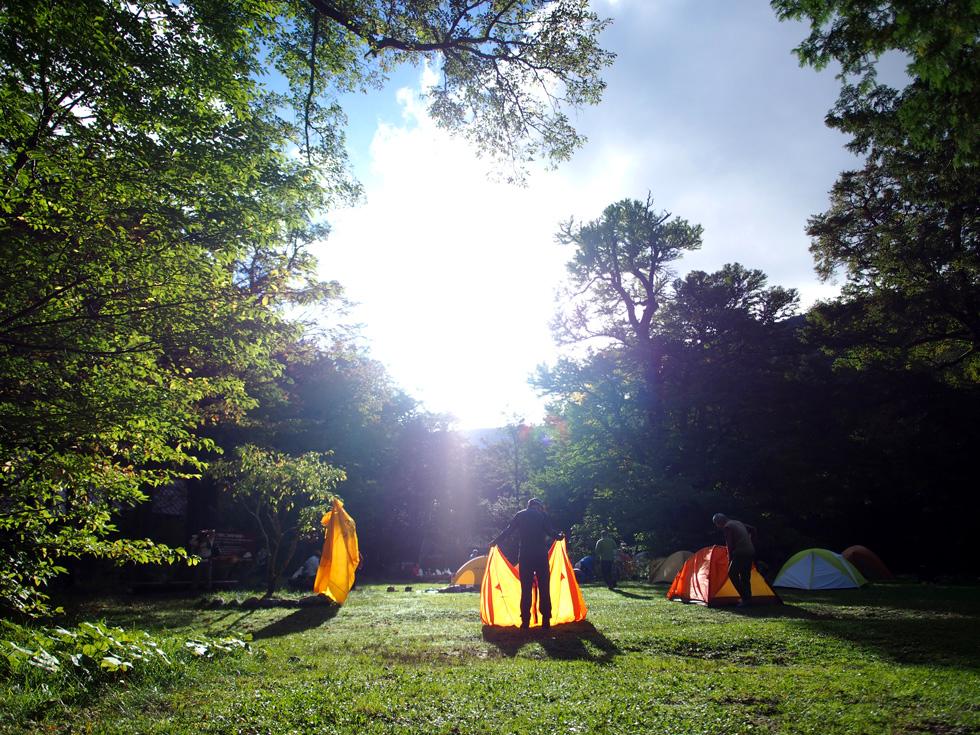 徳沢キャンプ場の気持ちのいい朝