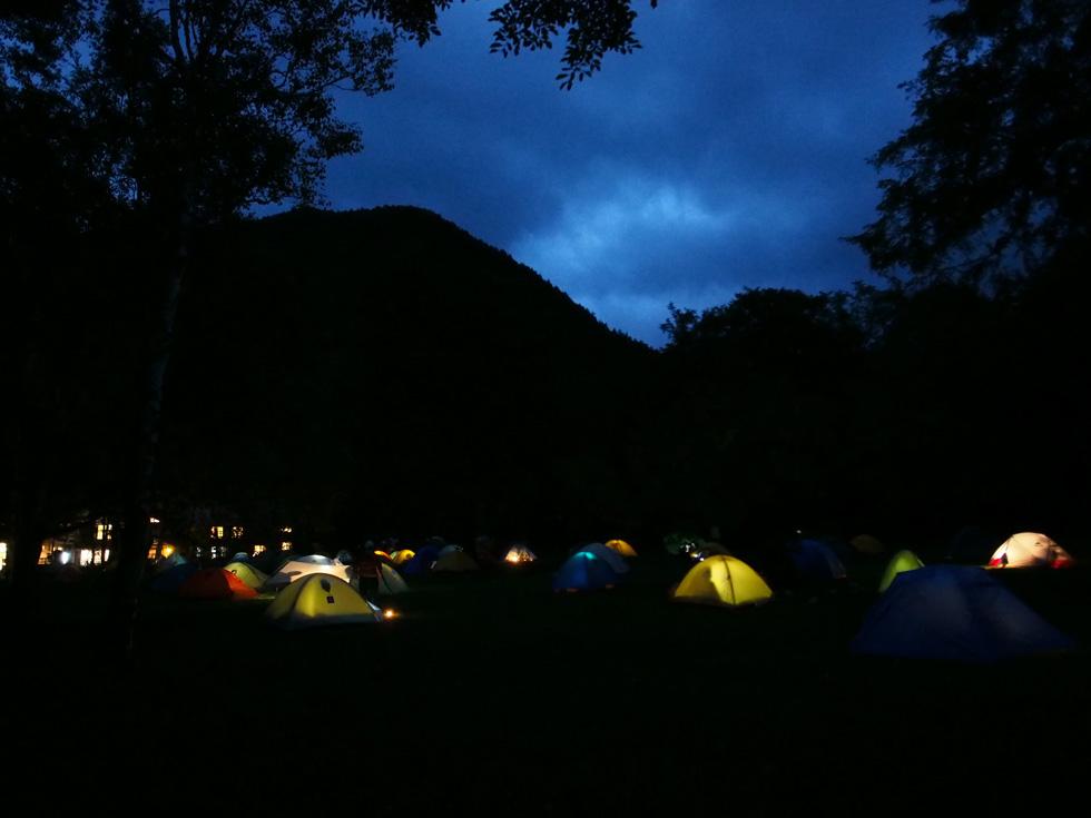 夜の徳沢キャンプ場