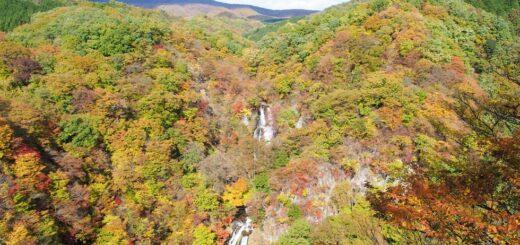 霧降の滝から見る紅葉