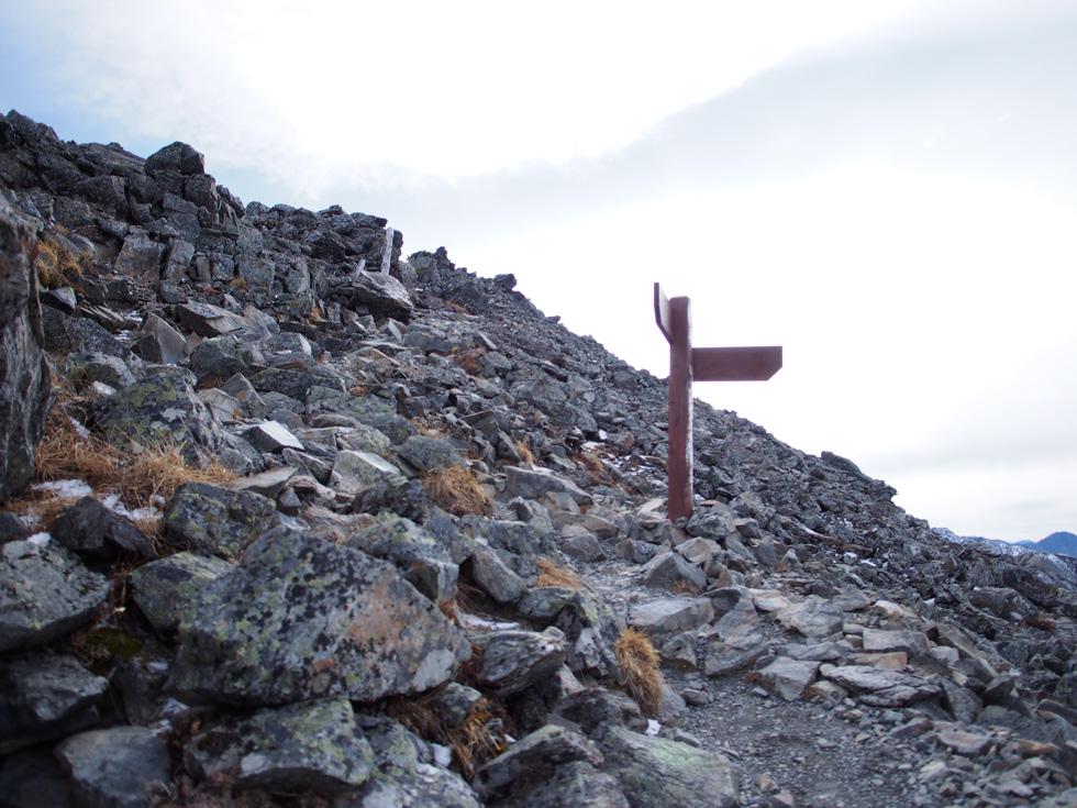 北岳の山頂を目指す