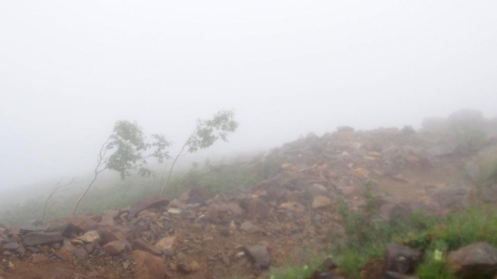 雨風の常念岳