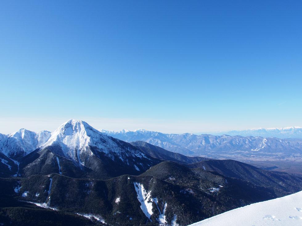 赤岩の頭から見る阿弥陀岳