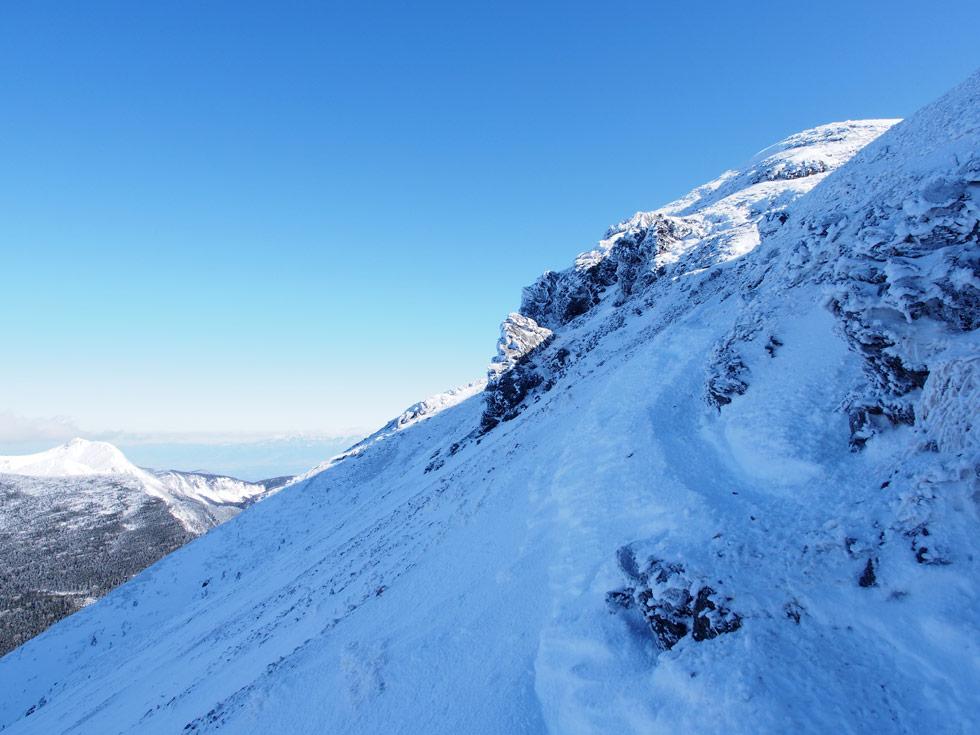 硫黄岳雪のトラバース道