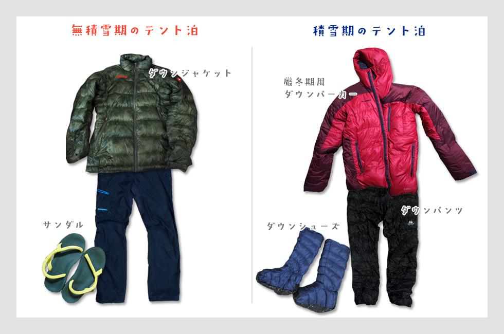 無積雪期・積雪期のテント泊の服装
