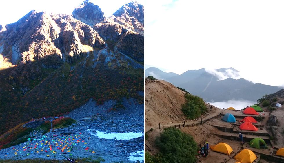 ベース型テント場の涸沢と縦走型テント泊の燕山荘テント場