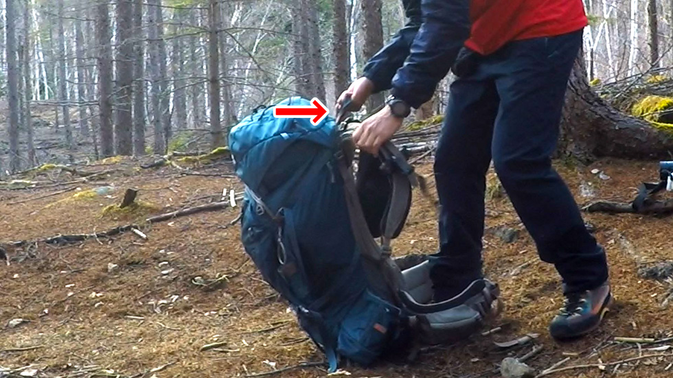 テント泊ザックの背負い方