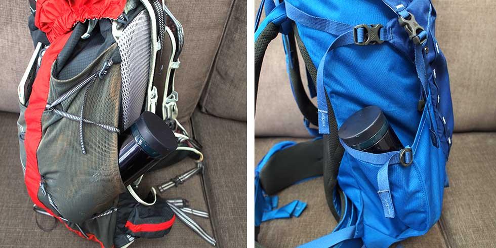 登山リュックの特徴 水筒用のポケット