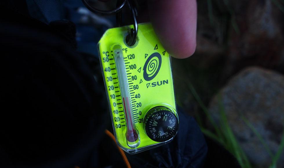 雲ノ平テント場の早朝の気温は5度