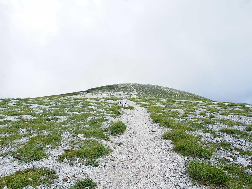 双六岳から双六山荘へ向かう