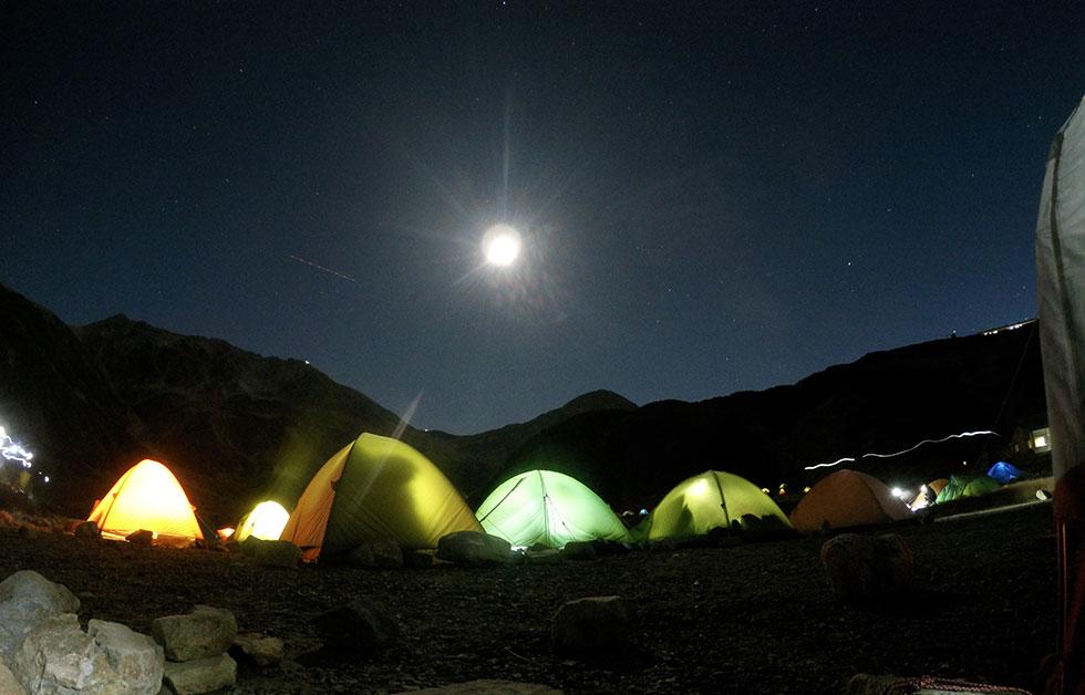雷鳥沢キャンプ場の夜は寒かった