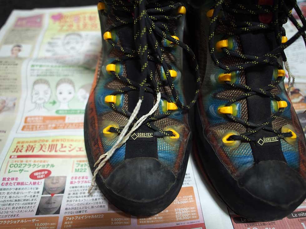 登山靴の靴紐を替える