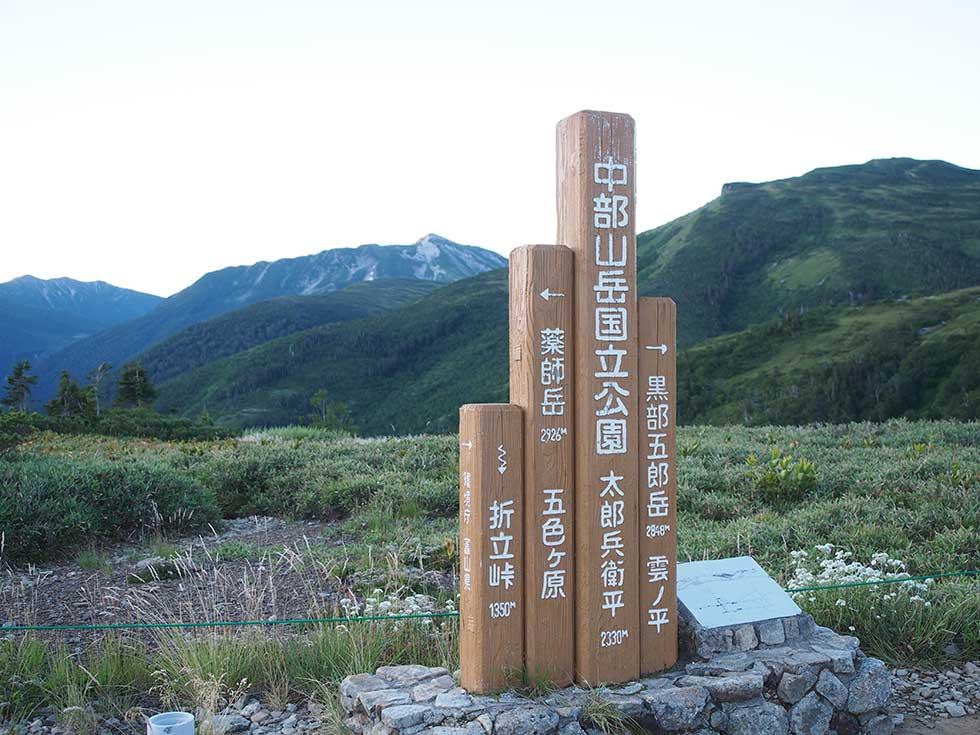 太郎平小屋前の標識