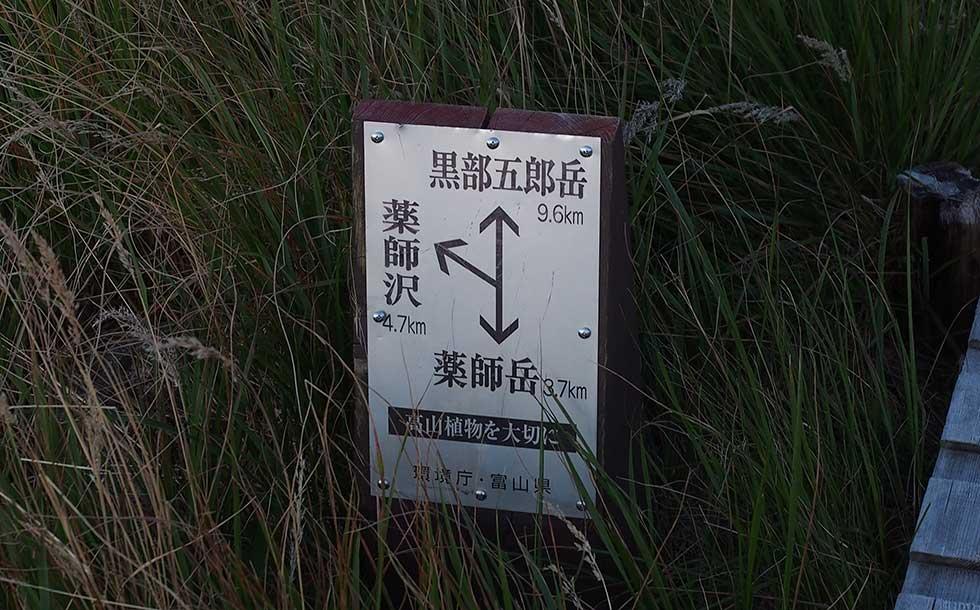 黒部五郎岳への標識