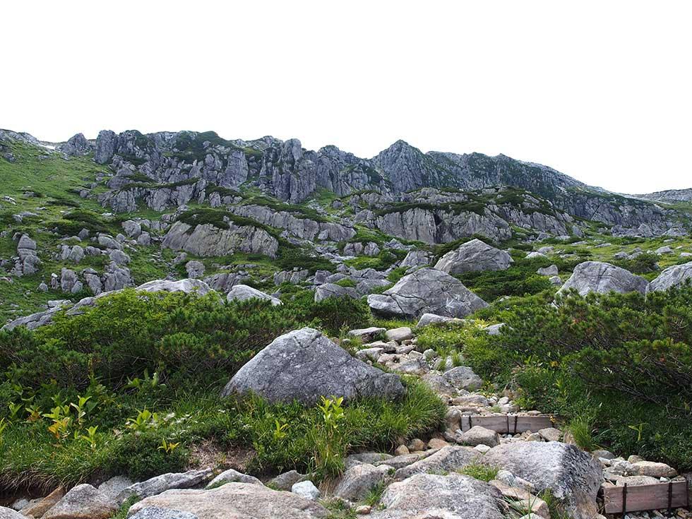 黒部五郎岳の岩壁