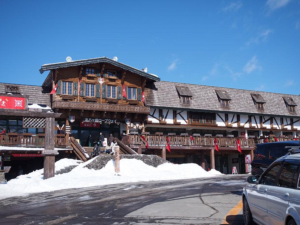 冬の北八ヶ岳ロープウェイ駅