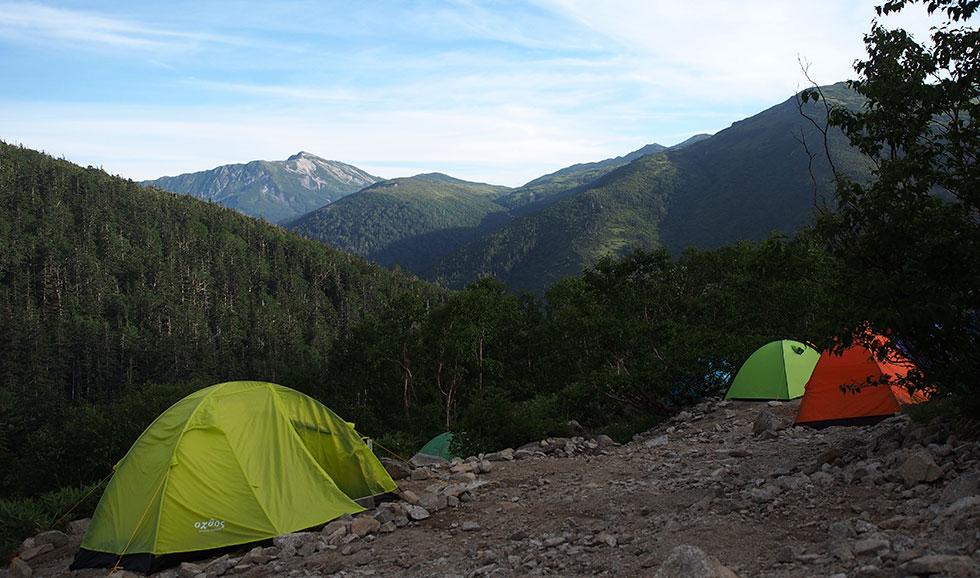 薬師沢 登山のテント場